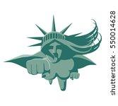 statue of liberty super woman.... | Shutterstock .eps vector #550014628