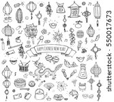 hand drawn doodle happy chinese ... | Shutterstock .eps vector #550017673