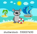 bear on the beach. vector... | Shutterstock .eps vector #550037650