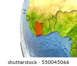 ivory coast in red on a globe...   Shutterstock . vector #550045066