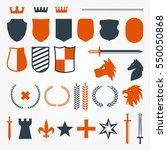 crest shield elements vector set | Shutterstock .eps vector #550050868
