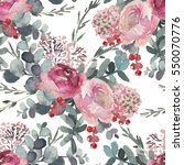 seamless watercolor floral... | Shutterstock . vector #550070776