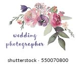 watercolor floral illustration  ... | Shutterstock . vector #550070800