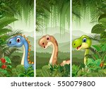set of dinosaur with tropical... | Shutterstock . vector #550079800