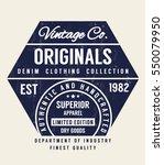 vintage denim typography  t... | Shutterstock .eps vector #550079950