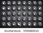 set of round buttons in cartoon ...