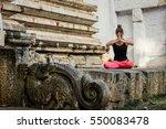 yogi woman in padmasana pose...   Shutterstock . vector #550083478