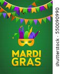 mardi gras party bunting poster.... | Shutterstock .eps vector #550090990