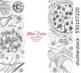 italian cuisine top view frame. ... | Shutterstock .eps vector #550107220