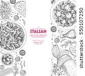 italian cuisine top view frame. ... | Shutterstock .eps vector #550107250
