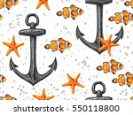 seamless pattern with fish ... | Shutterstock .eps vector #550118800