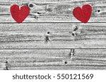 Heart Shaped Burlap On Wood...