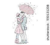 loving couple under an umbrella.... | Shutterstock .eps vector #550131208