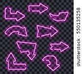 set of glowing purple neon... | Shutterstock .eps vector #550135258