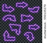 set of glowing purple neon...   Shutterstock .eps vector #550135270