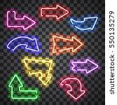 set of glowing neon arrows of... | Shutterstock .eps vector #550135279
