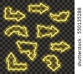 set of glowing yellow neon... | Shutterstock .eps vector #550135288