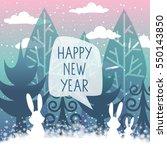 christmas winter landscape.... | Shutterstock .eps vector #550143850