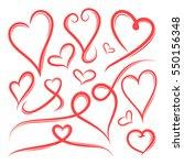 set of hand drawn heart shape... | Shutterstock .eps vector #550156348