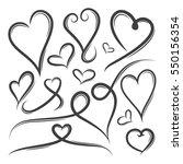 set of hand drawn heart shape... | Shutterstock .eps vector #550156354
