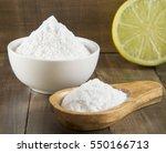 lemon and baking soda on wooden ... | Shutterstock . vector #550166713