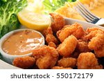 coconut southern fried shrimp... | Shutterstock . vector #550172179