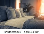 bed maid up with clean white... | Shutterstock . vector #550181404
