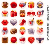 romantic dating icon set.... | Shutterstock .eps vector #550185964