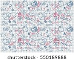 back to school themed doodle... | Shutterstock .eps vector #550189888