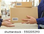 courier with parcel in doorway  ... | Shutterstock . vector #550205293
