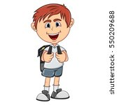 little boy with backpack... | Shutterstock . vector #550209688