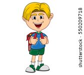 little boy with backpack... | Shutterstock . vector #550209718