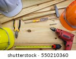 construction tools on worker... | Shutterstock . vector #550210360