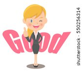 female office worker indicating ... | Shutterstock .eps vector #550256314