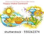 illustration of makar sankranti ... | Shutterstock .eps vector #550262374