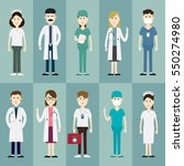 team medical staff and group of ... | Shutterstock .eps vector #550274980