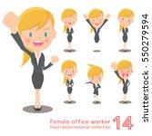blonde female office work... | Shutterstock .eps vector #550279594