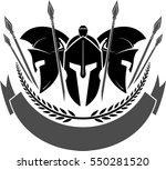 spartan helmet with blank label | Shutterstock .eps vector #550281520