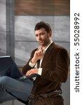 portrait of goodlooking trendy... | Shutterstock . vector #55028992
