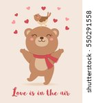 cute bear and bird illustration ... | Shutterstock .eps vector #550291558