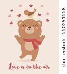 cute bear and bird illustration ... | Shutterstock .eps vector #550291558