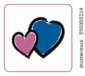 Two Hearts Icon. Brush Texture...