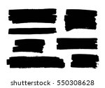 set of black paint  ink brush... | Shutterstock .eps vector #550308628