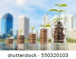 plant growing in savings coins... | Shutterstock . vector #550320103