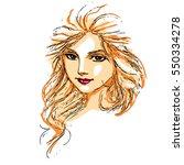 woman long hair color | Shutterstock .eps vector #550334278