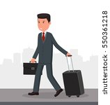 businessman with luggage goes... | Shutterstock .eps vector #550361218