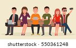 group of people on bench with... | Shutterstock .eps vector #550361248