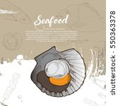 seafood. hand drawn... | Shutterstock .eps vector #550363378