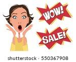 wow. sale. surprised girl.... | Shutterstock .eps vector #550367908