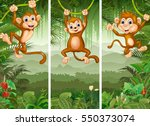 set of three monkey with... | Shutterstock .eps vector #550373074